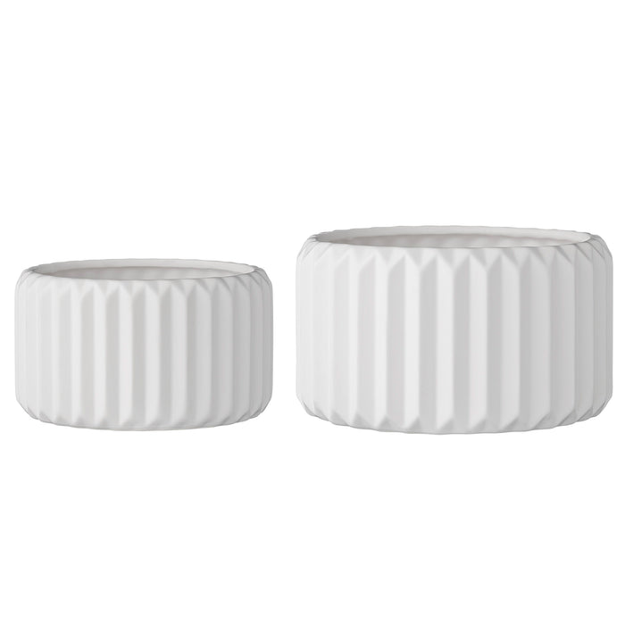 Round White Fluted Stoneware Flower Pots (set of 2)