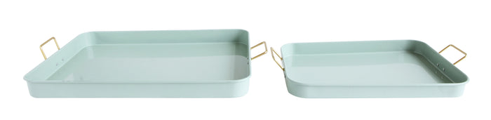 Sage Green Metal Trays with Gold Handles (Set of 2 Sizes)