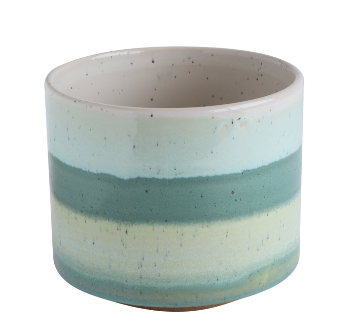 Green Striped Round Stoneware Flower Pot
