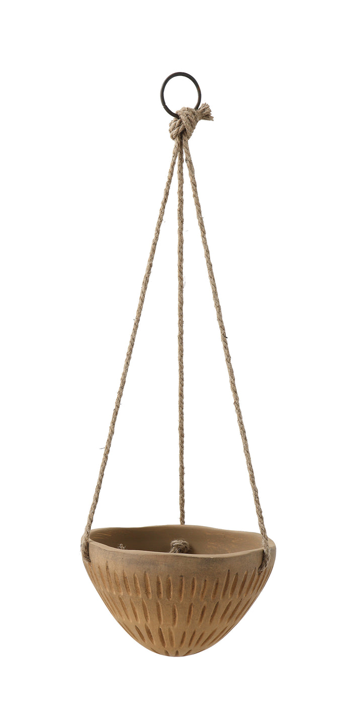 Round Hanging Terracotta Flower Pot with Jute Ropes
