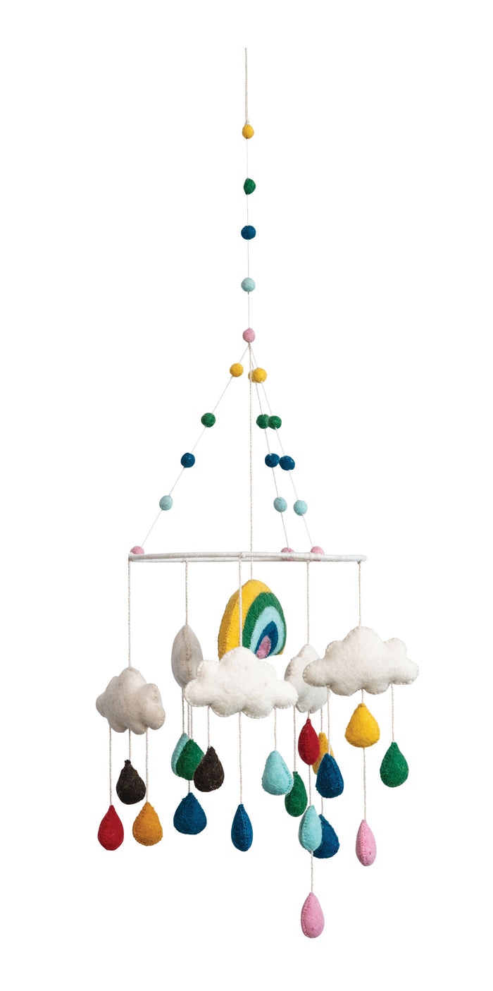 Multicolor Wool Felt Rainbow Mobile Blue