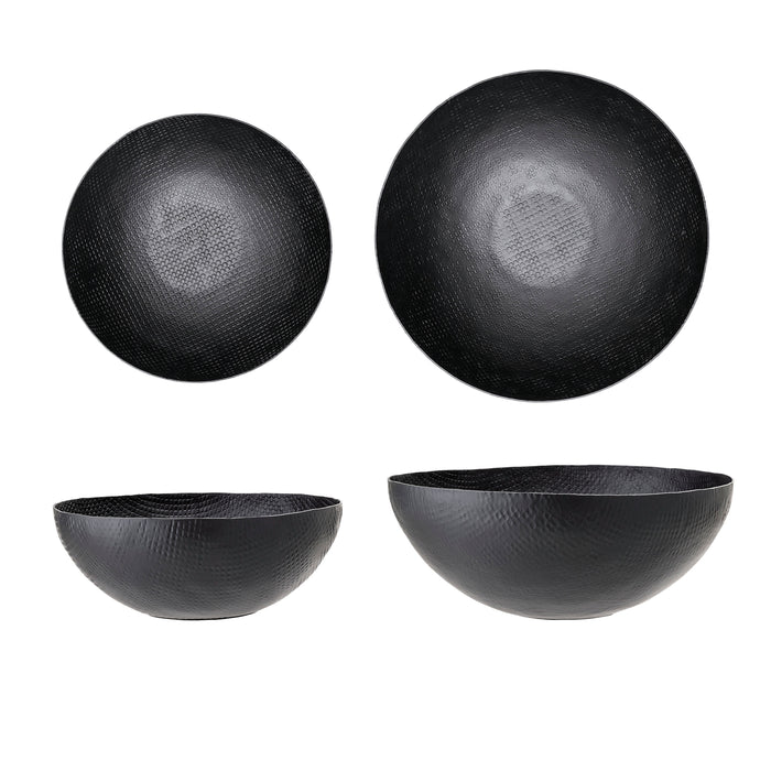 Embossed Matte Black Aluminum Bowls (Set of 2 Sizes)