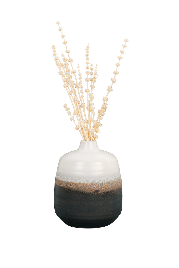 Small Black & White Ceramic Vase with Brown Reactive Glaze Accent