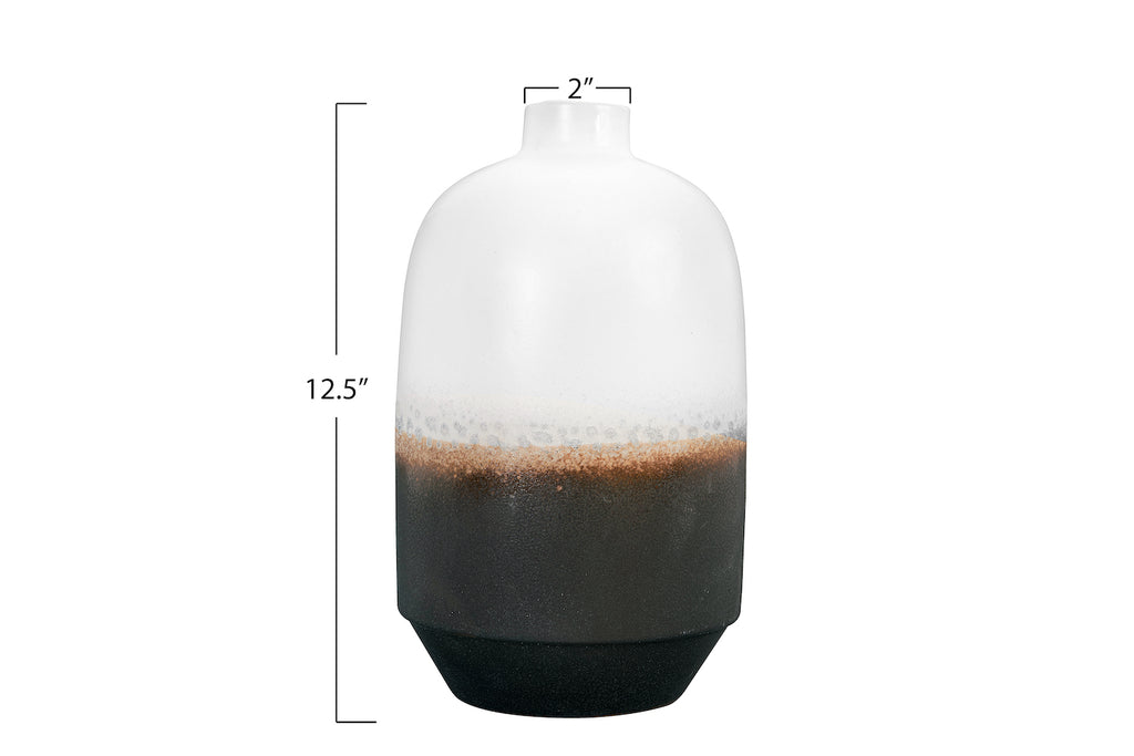 Large Black & White Ceramic Vase with Brown Reactive Glaze Accent
