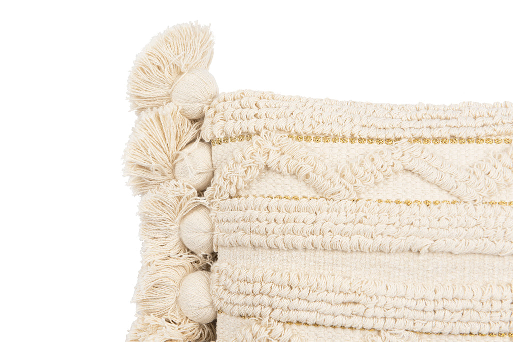 Off-White Cotton Looped Pillow