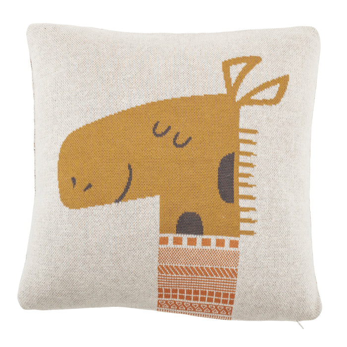 Square Orange Cotton Knit Giraffe Pillow
