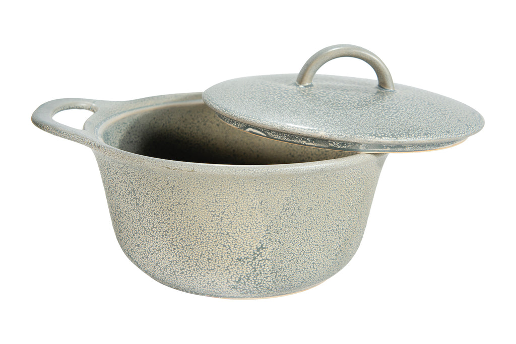 Matte Grey Round Stoneware Baker with Reactive Glaze Finish & Lid (Each one will vary)