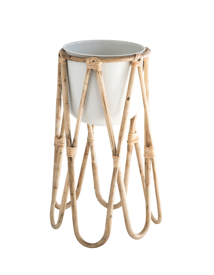 Off-White Metal Planter with Raised Bamboo Stand (Set of 2 Pieces)