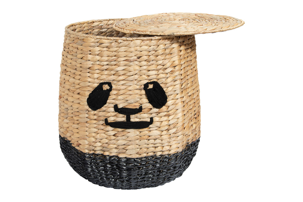 Handwoven Beige & Black Panda Face Rattan Basket with Lid