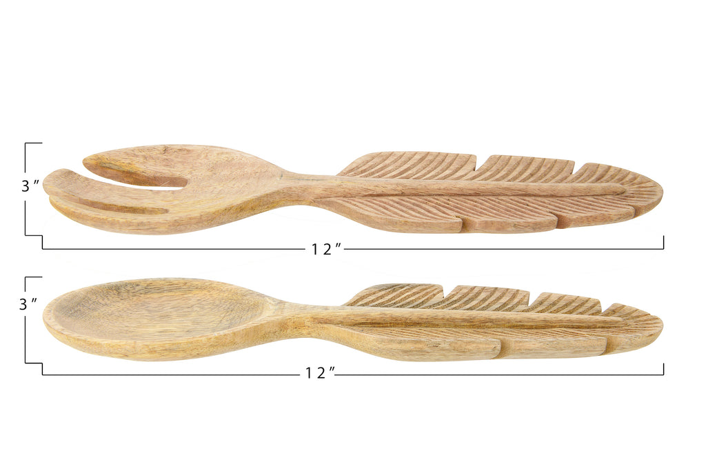 Hand-Carved Mango Wood Salad Servers with Feather-Shaped Handles (Set of 2 Pieces)