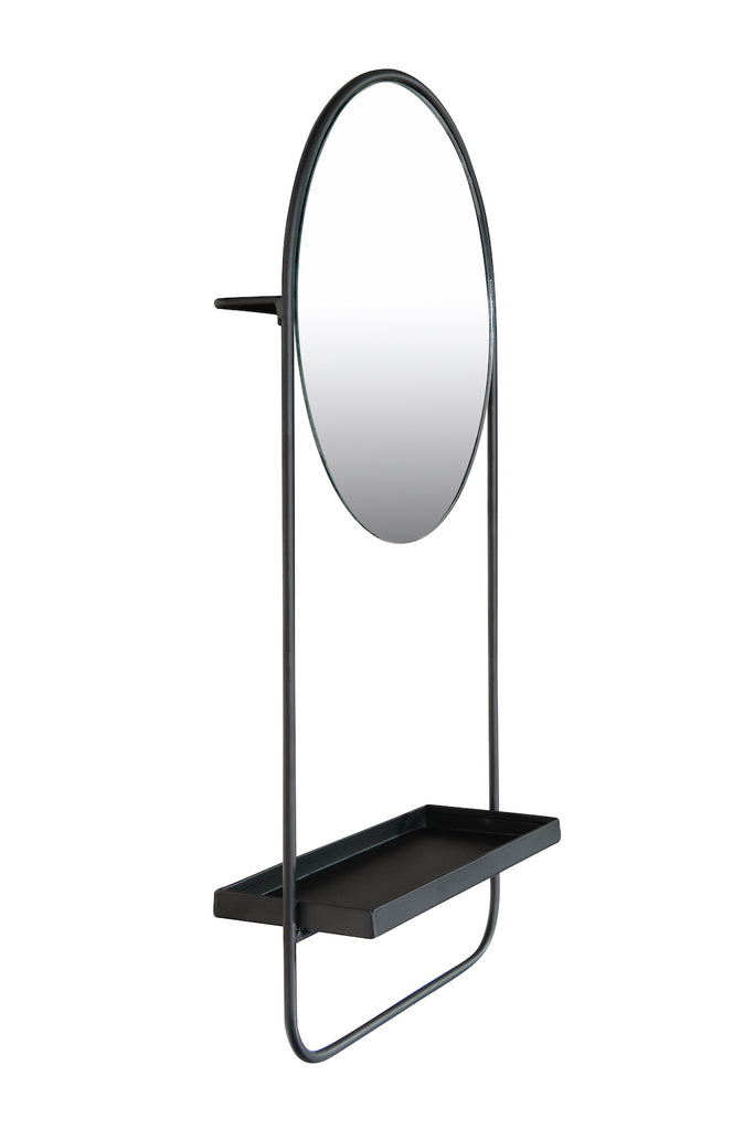 Circa Metal Wall Mirror, Shelf & Hanging Rod Décor
