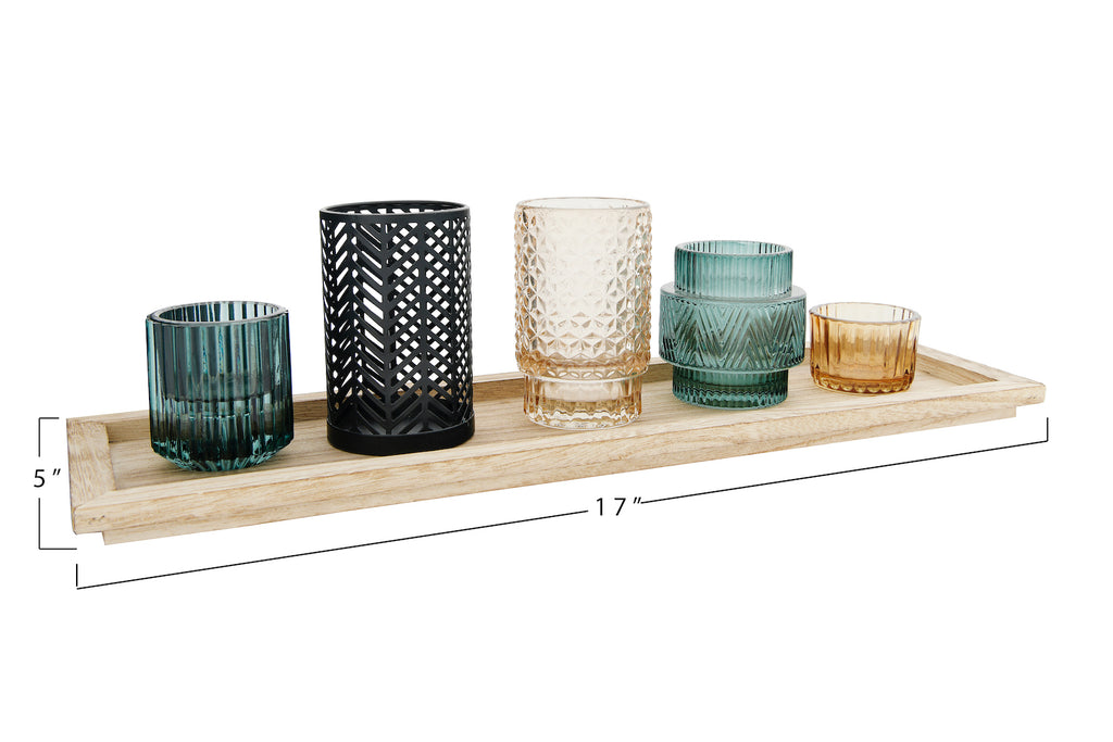 Embossed Glass & Metal Tealight/Votive Holders on Rectangle Wood Tray (Set of 6 Pieces)
