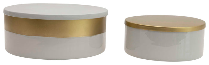 Round Stainless Steel Kitchen Containers with Lids (Set of 2 Sizes)