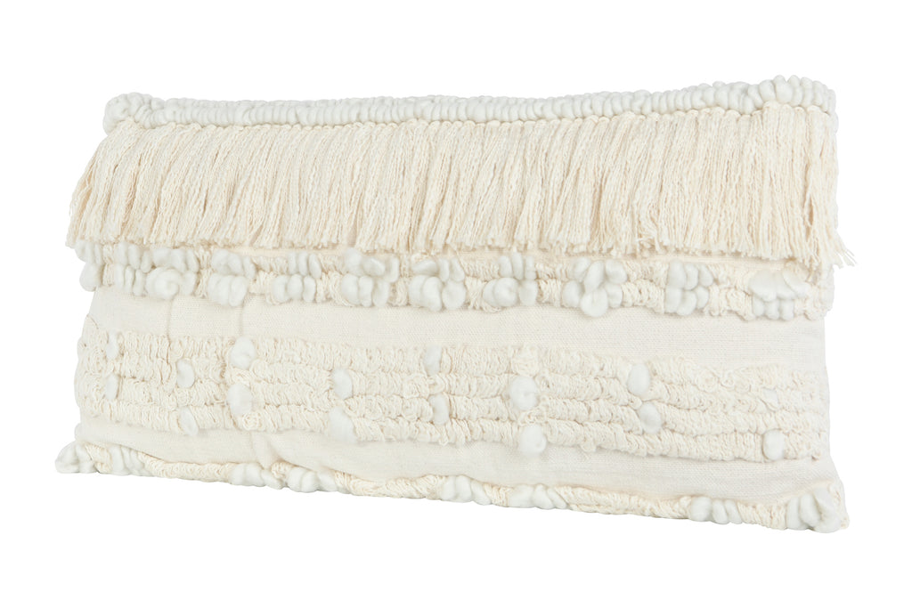 Woven Cotton & Wool Blend Lumbar Pillow with Fringe