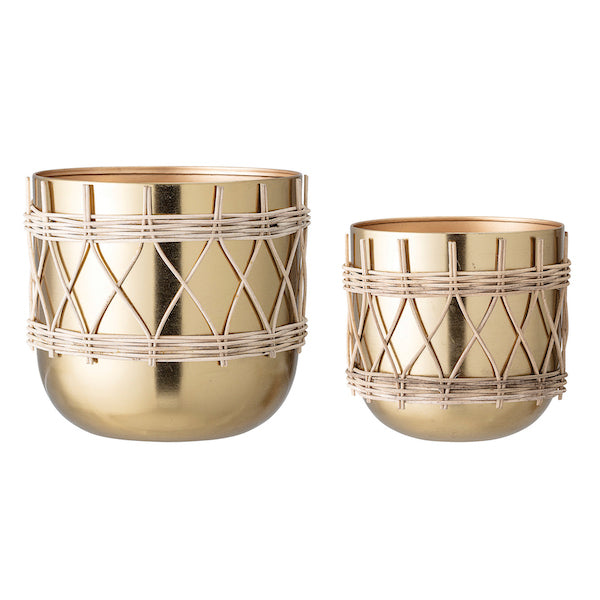 "Gold Electroplated Metal Planters with Woven Rattan Sleeve (Set of 2 Sizes/Hold 7"" & 9"" pots)"