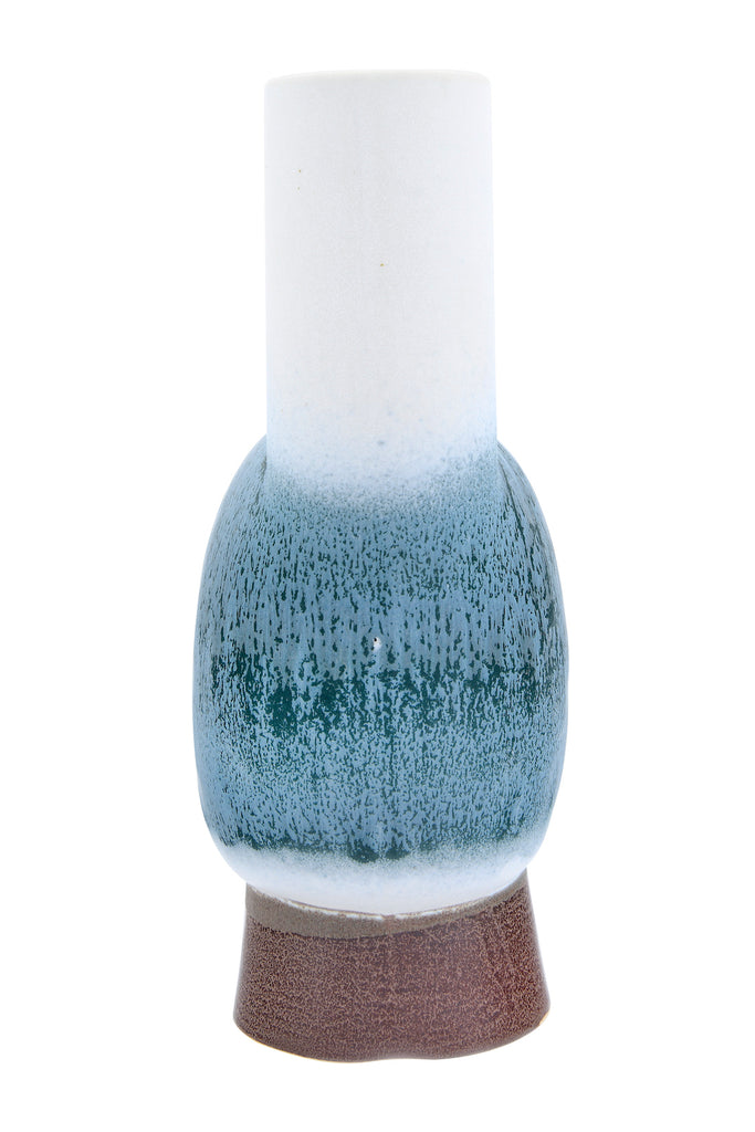 Round Stoneware Vase with Chimney, Pedestal Base & Reactive Glaze Finish (Each one will vary)