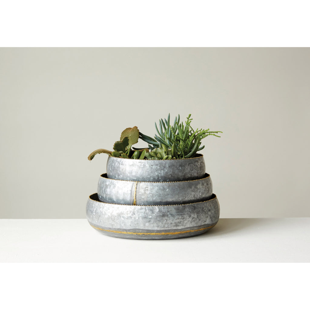 Set of 3 Decorative Metal Bowls/Planters