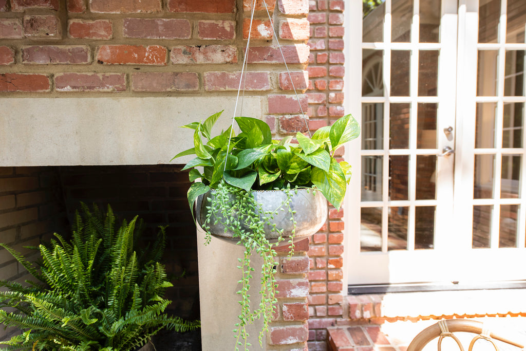 Grey & Gold Hanging Iron Planter