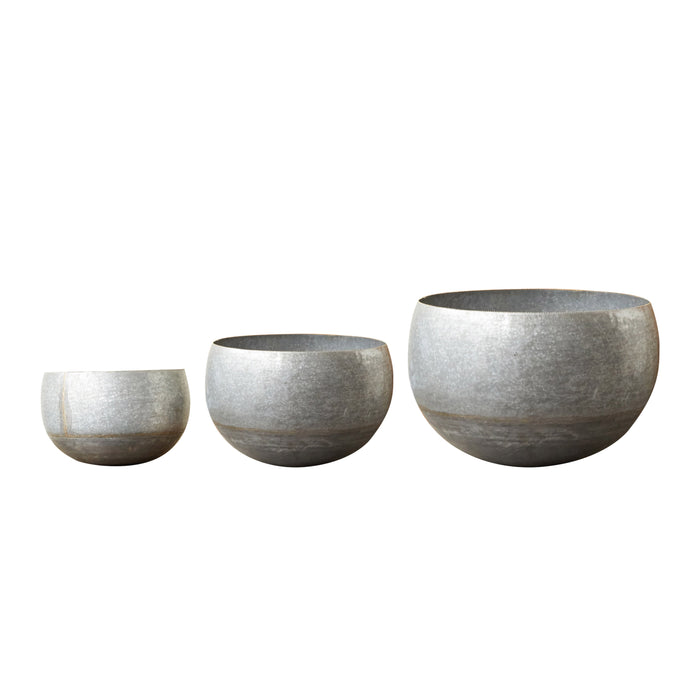 Large Galvanized Metal Planters, Set of 3
