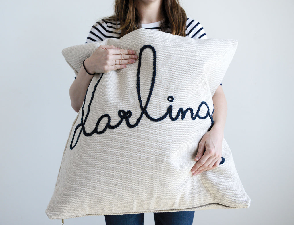 "Square Cotton Cream & Blue ""Darling"" Pillow"