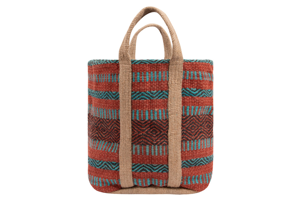 Jute Tote Bag in Coral & Teal Stripes