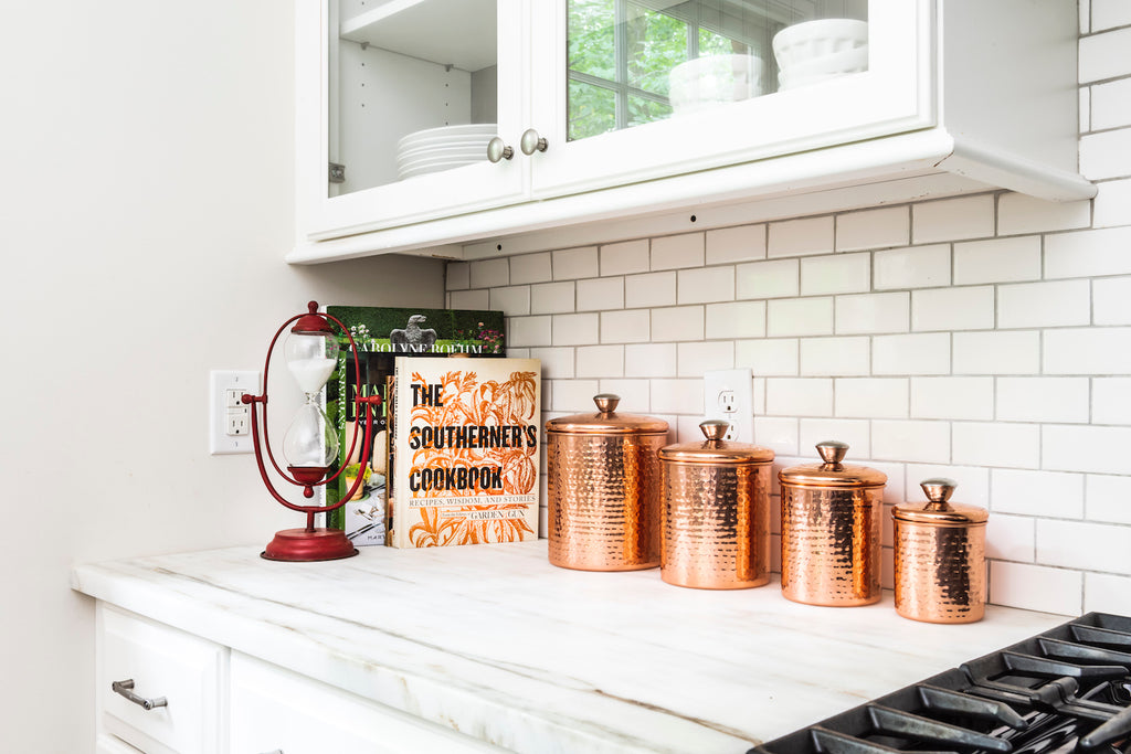 Hammered Stainless Steel Canisters with Lids in Copper Finish (Set of 4 Sizes)