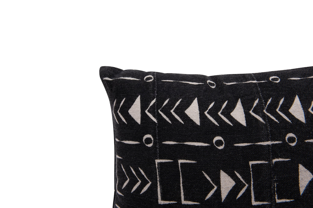 Black & White African Mudcloth Patterned Cotton Pillows (Set of 2 Designs)