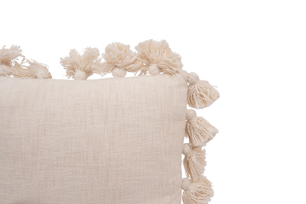 Luxurious Cream Square Cotton Woven Slub Pillow with Tassels