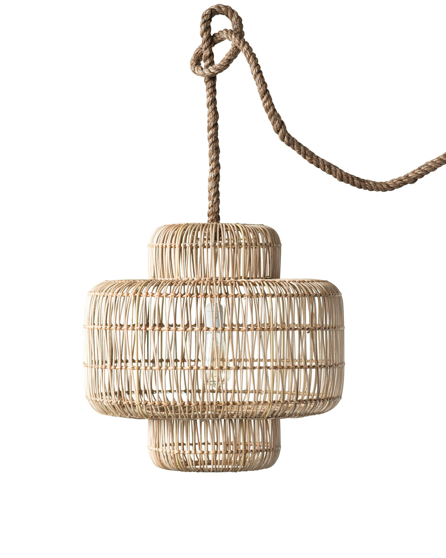 Willow Wicker Pendant Light with Thick Rope Cord