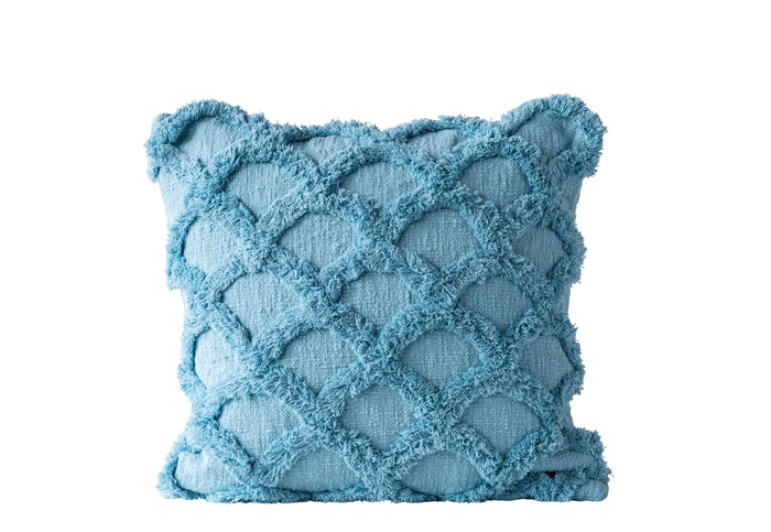 Square Cotton Chenille Pillow, Light Blue