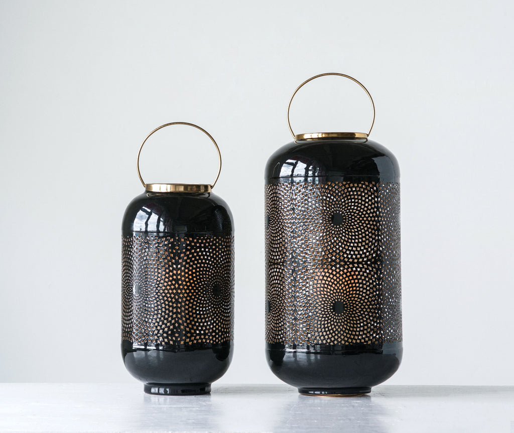 Small Black Punched Metal Lantern with Brass Handle