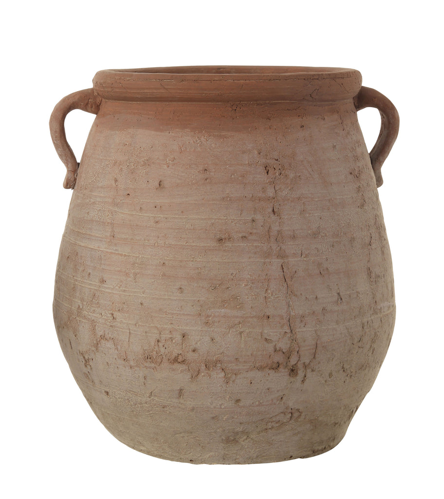 Large Orange & Whitewashed Terracotta Urn
