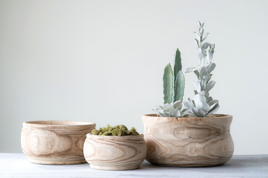 Medium Natural Paulownia Wood Planter