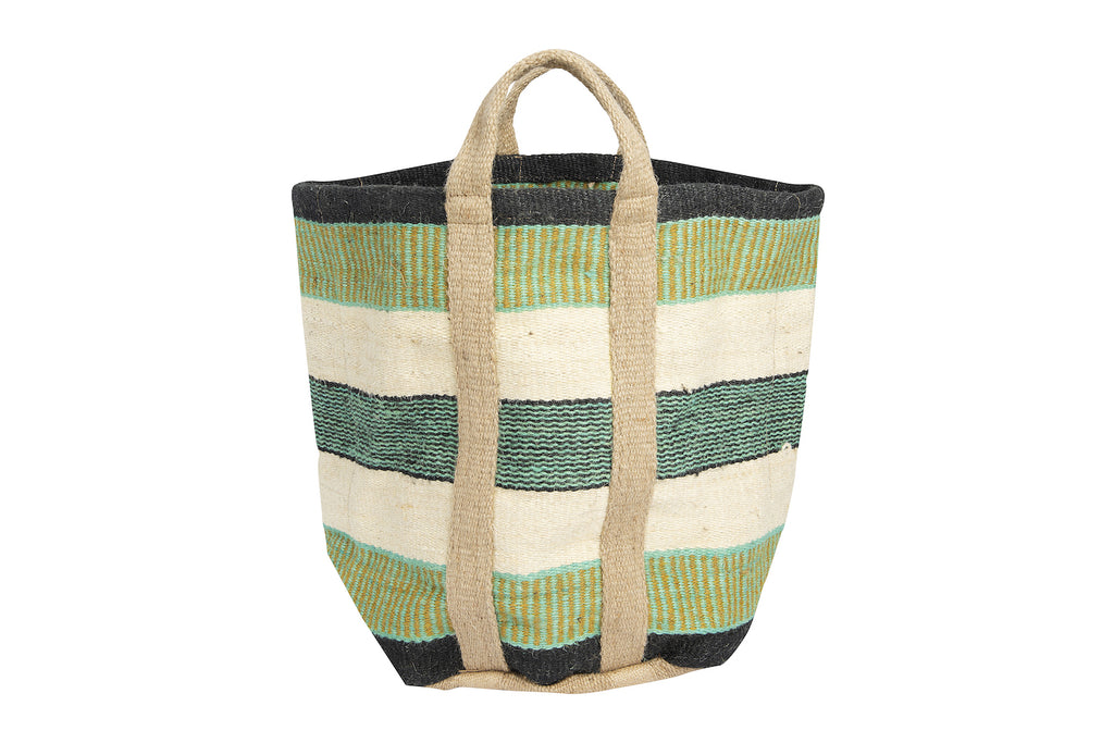 Handwoven Green Striped Jute Bag with Handles