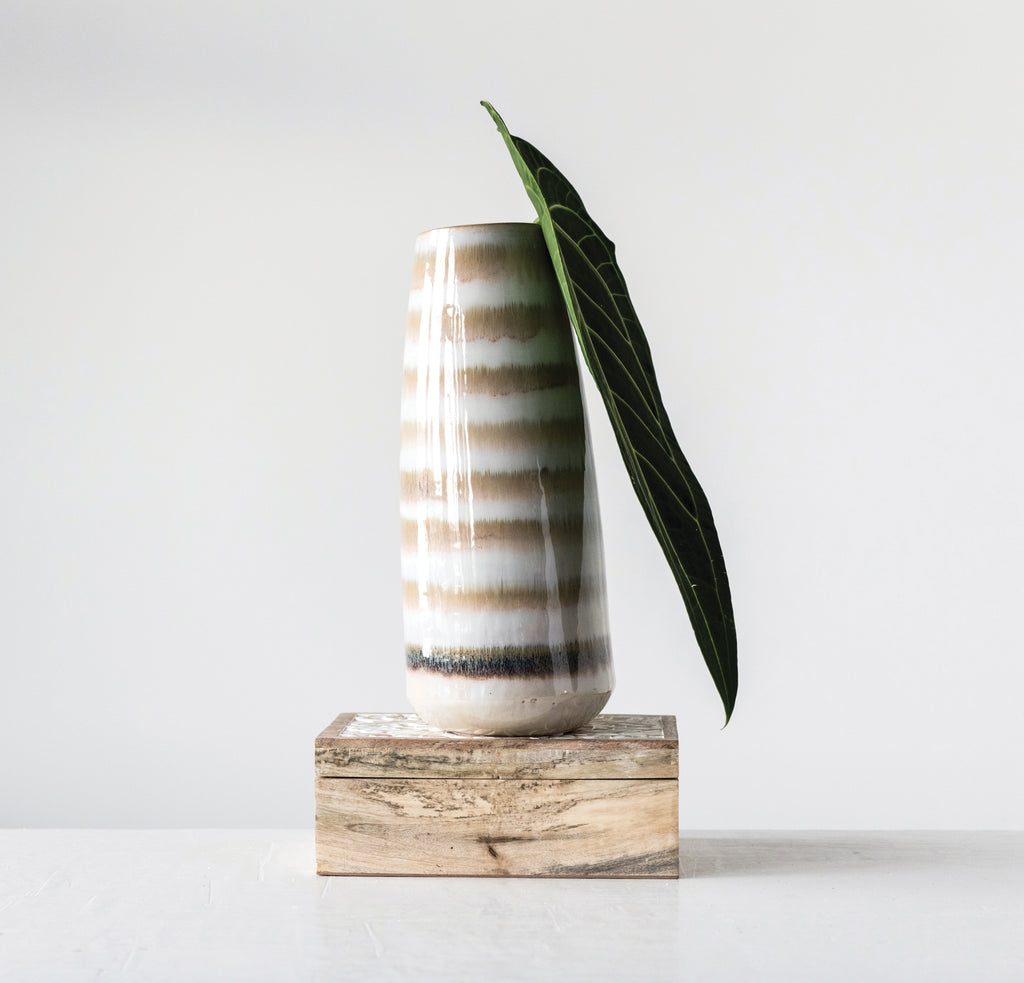 Brown & Cream Striped Stoneware Vase & Reactive Glaze Finish (Each one will vary)