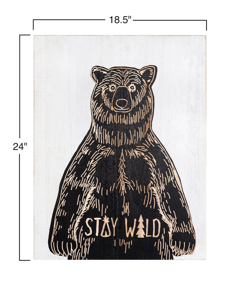 """Stay Wild"" Bear Wood Scratch Art Wall Décor"