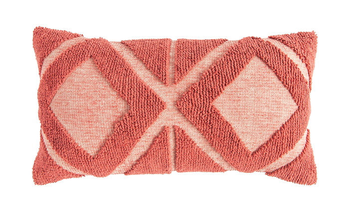 Coral Cotton Blend Chenille Lumbar Pillow