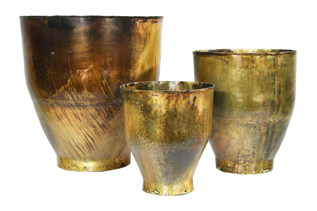 Metal Planters with Antique Finishes (Set of 3 Sizes)