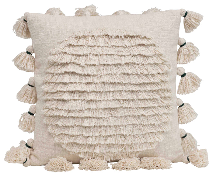 Square Cotton Embroidered Pillow with Fringed Circle Design and Tassel Trim