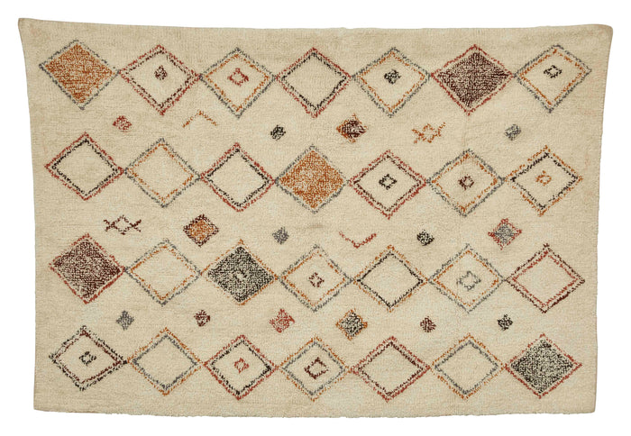 Davis 4' x 6' Cotton Printed Cut Pile Rug with Diamond Pattern