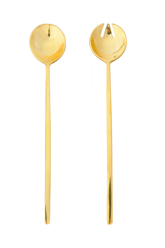 Brass Salad Servers with Rectangle Handles & Smooth Finish (Set of 2 Pieces in Drawstring Bag)
