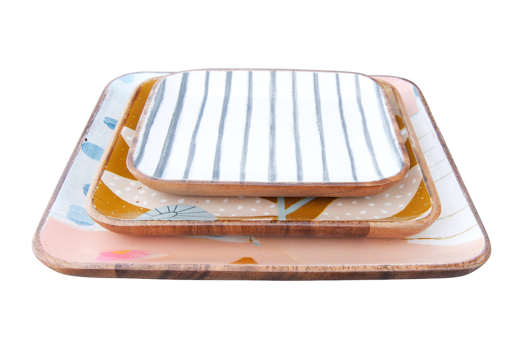 Pastel Square Enameled Acacia Wood Trays (Set of 3 Sizes/Patterns)