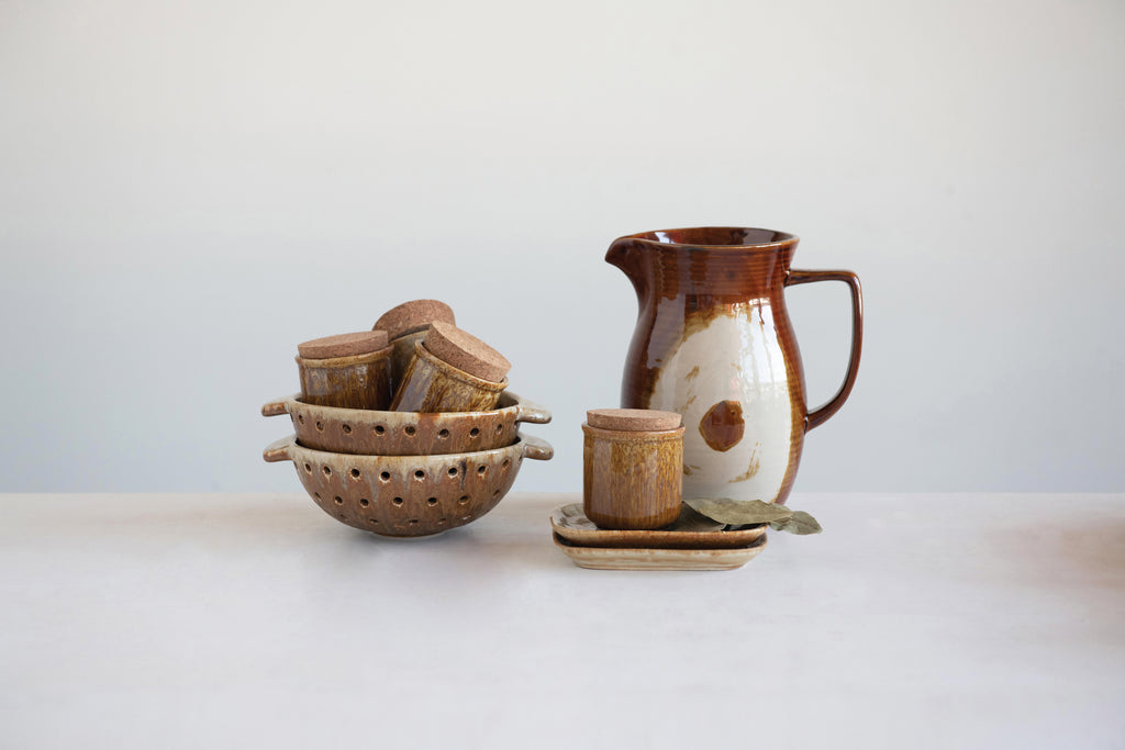 42 oz. Stoneware Pitcher with Reactive Glaze Finish (Each One Will Vary)