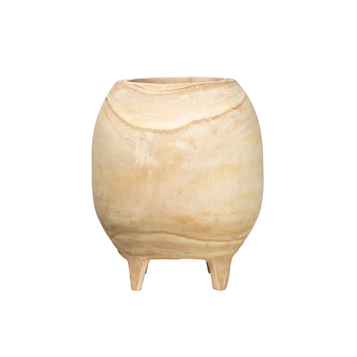 "Footed Paulownia Wood Planter (Holds 9"" Pot)"