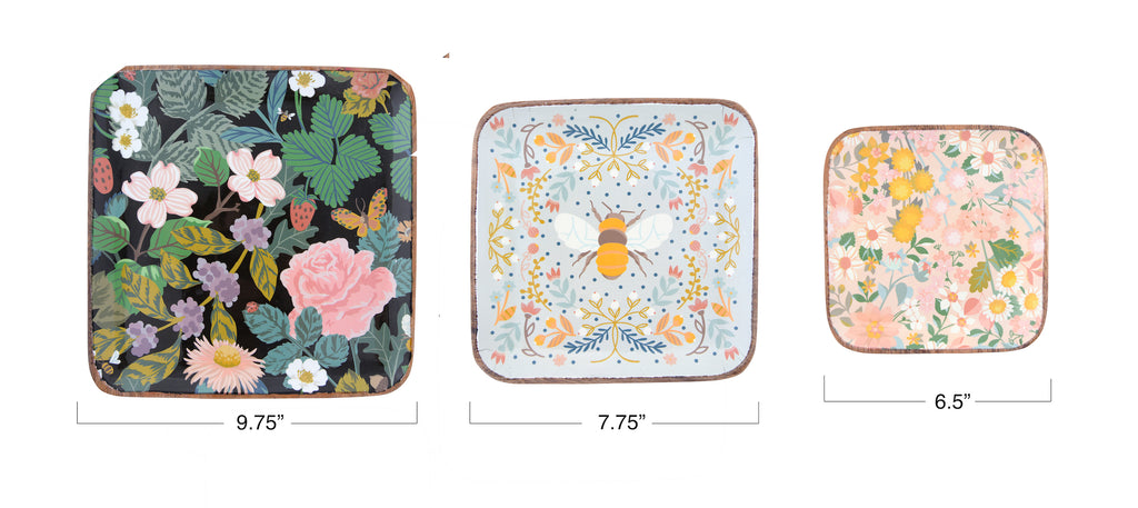 Floral Square Enameled Acacia Wood Trays (Set of 3 Sizes/Patterns)
