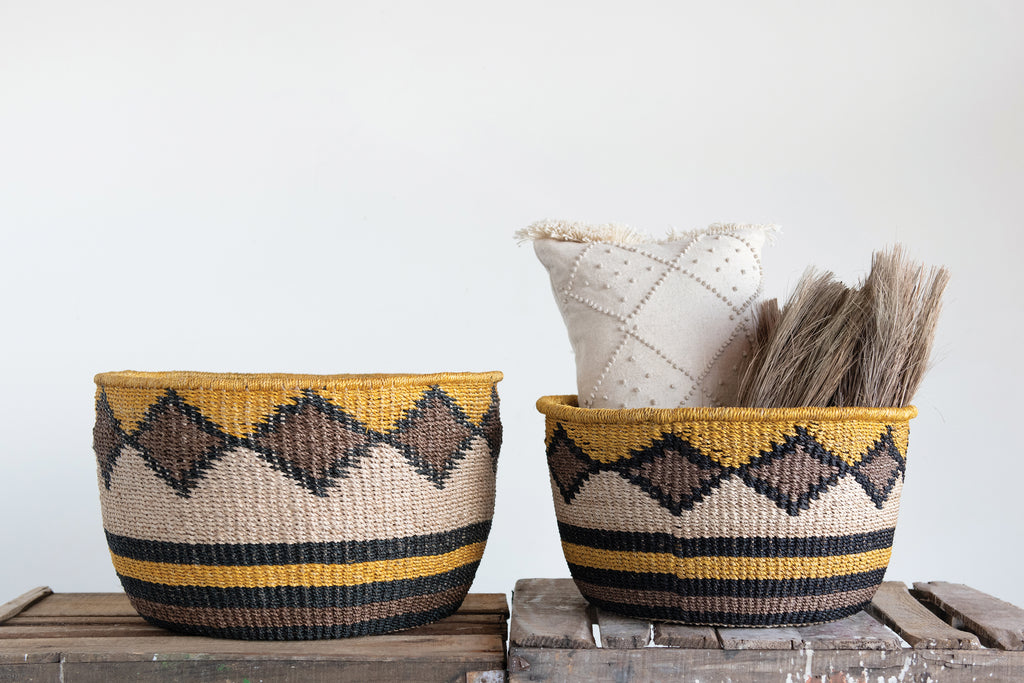 Handwoven Abaca Baskets with Stripes & Diamond Shapes (Set of 2 Sizes)