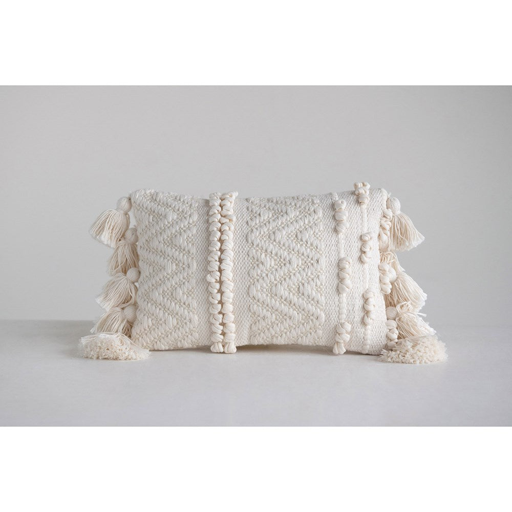 Small Pom Pom Tassel Lumbar Pillow