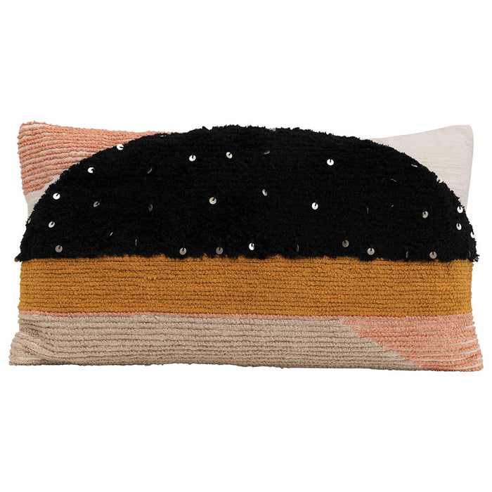 Boho Sunset Multi-Textured Cotton Lumbar Pillow with Geometric Shapes