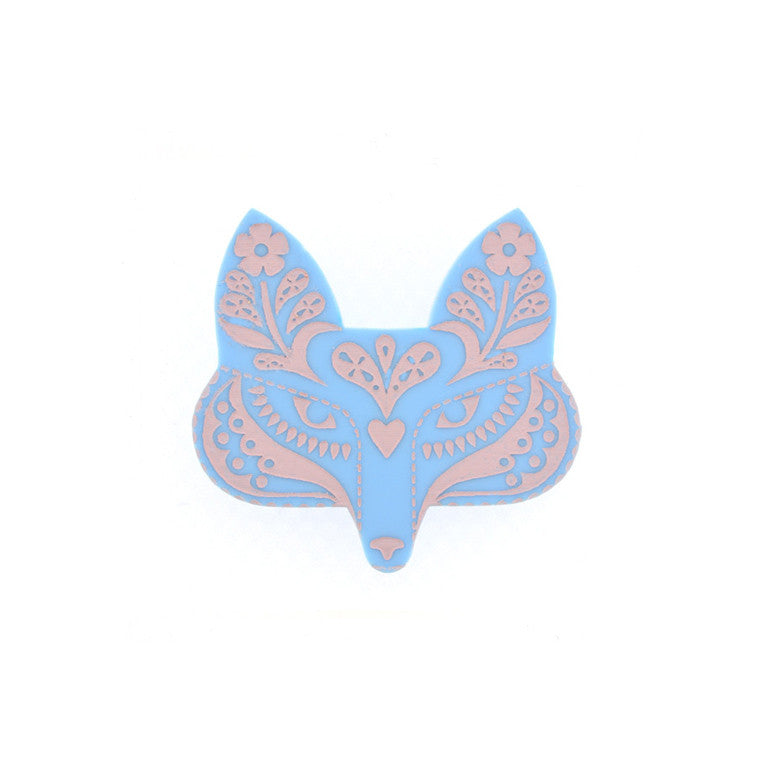 FOLK FOX BROOCH BLUE