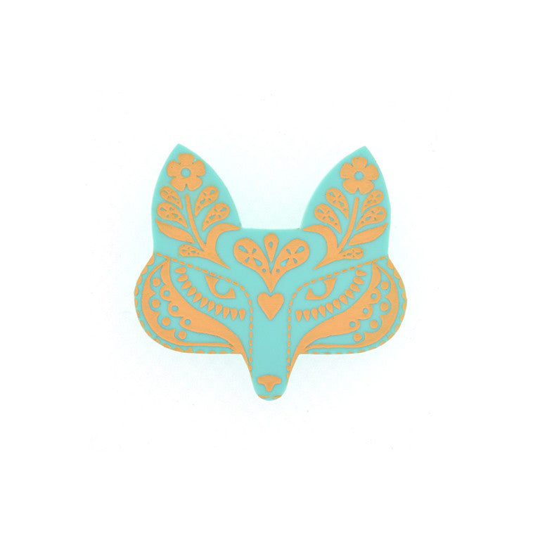 FOLK FOX BROOCH MINT